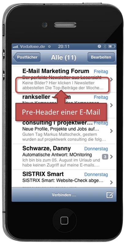 Pre-Header beim iPhone-Mail